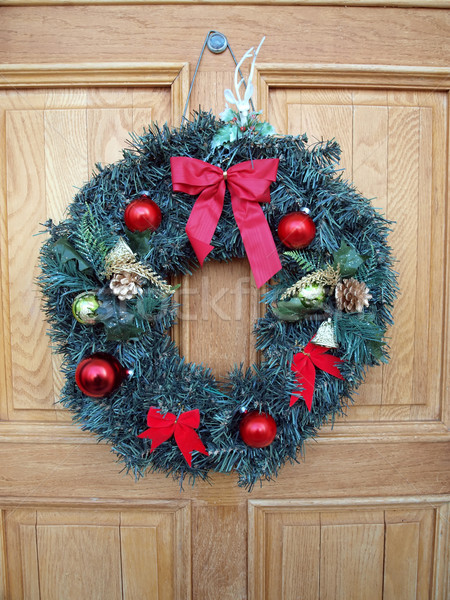 christmas wreath on door Stock photo © tdoes