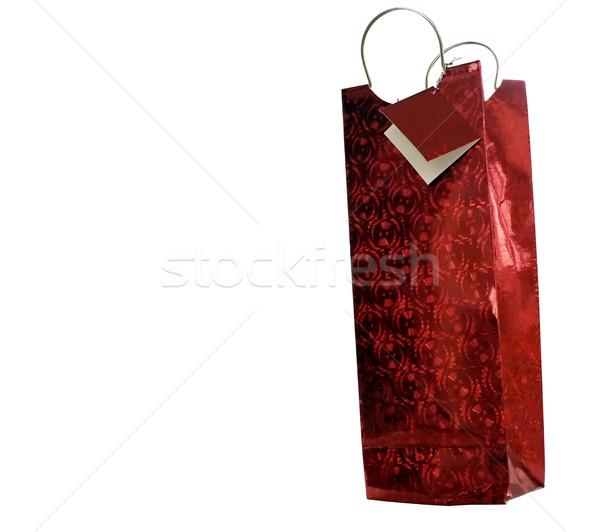 Kırmızı hediye çanta şişe özel gün Stok fotoğraf © tdoes