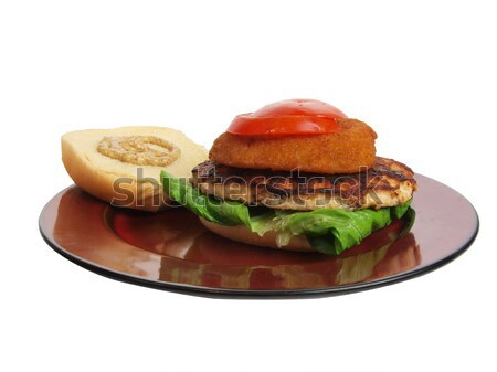 Turquie Burger sandwich laitue tomate oignon Photo stock © tdoes