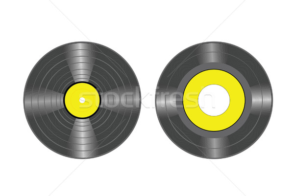 Stockfoto: Vinyl · records · vector · lp · schijf · tekening