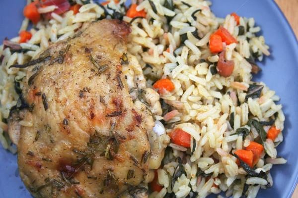 Herb kurczaka bed ryżu obiedzie Zdjęcia stock © TeamC
