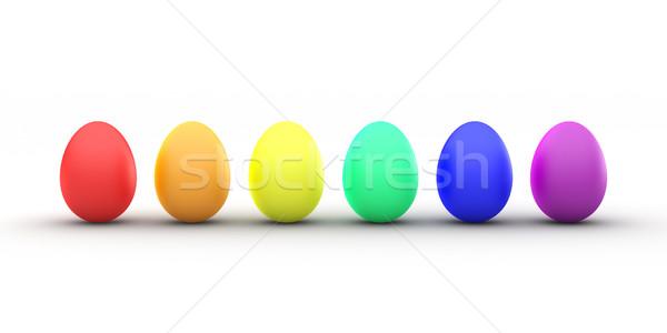 Easter egg tęczy 3D line kolorowy Zdjęcia stock © TeamC