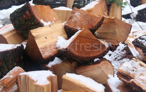 Lenha fora neve textura natureza Foto stock © TeamC