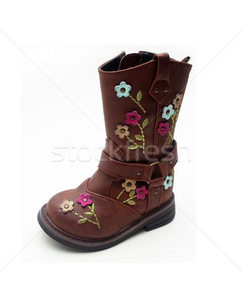 Odizolowany młodych dziewcząt boot brązowy kwiaty Zdjęcia stock © TeamC