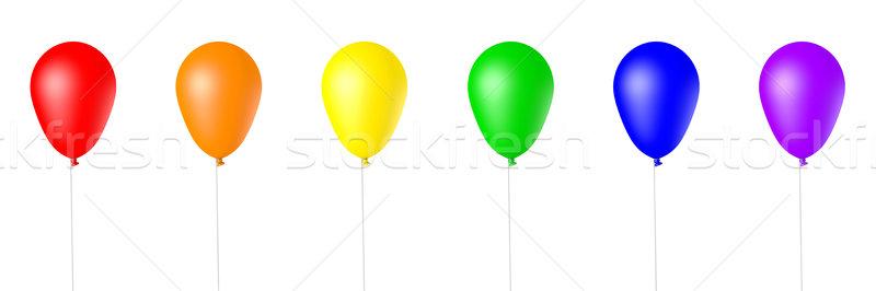 Odizolowany 3D świadczonych balony kolekcja tęczy Zdjęcia stock © TeamC