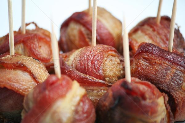 Boczek klopsiki żywności czerwony mięsa biały Zdjęcia stock © TeamC