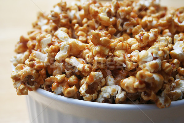Popcorn blanche bol alimentaire Photo stock © TeamC