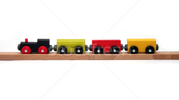 Odizolowany zabawki pociągu drewniane zabawki zestaw biały Zdjęcia stock © TeamC