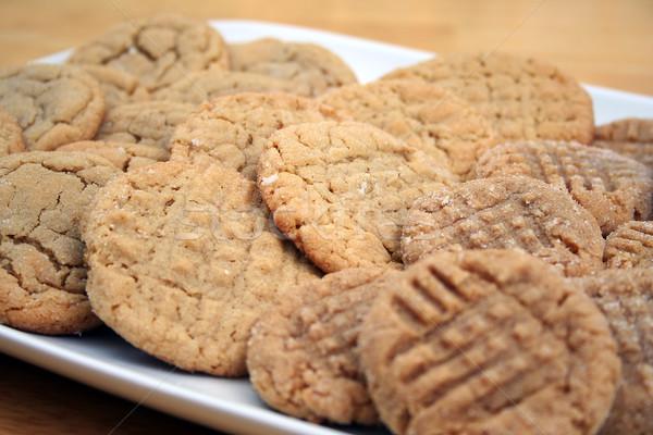 Fıstık ezmesi şeker kurabiye plaka beyaz Noel Stok fotoğraf © TeamC