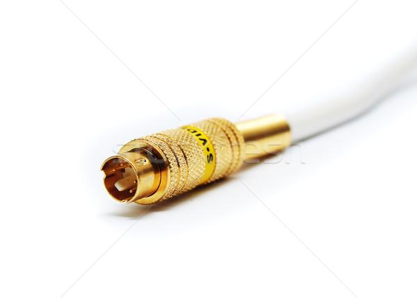 Odizolowany kabel złota wideo biały Zdjęcia stock © TeamC