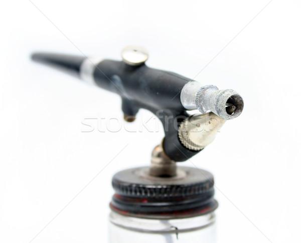 Odizolowany antyczne czarny szczotki narzędzie powietrza Zdjęcia stock © TeamC