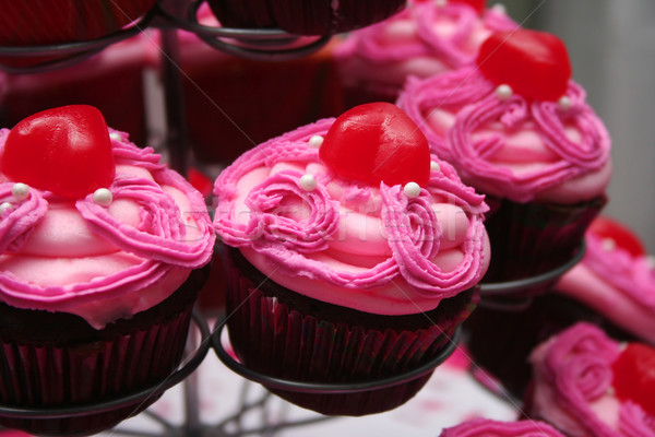 Pink Frosted Chocolate Cupcakes Stock photo © TeamC