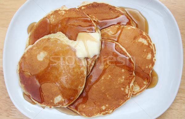 Naleśniki masło syrop górę w dół widoku Zdjęcia stock © TeamC