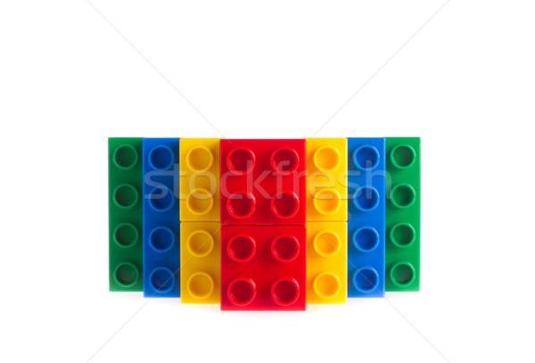 Plastik yapı blokları yalıtılmış beyaz çocuk mavi Stok fotoğraf © tehcheesiong