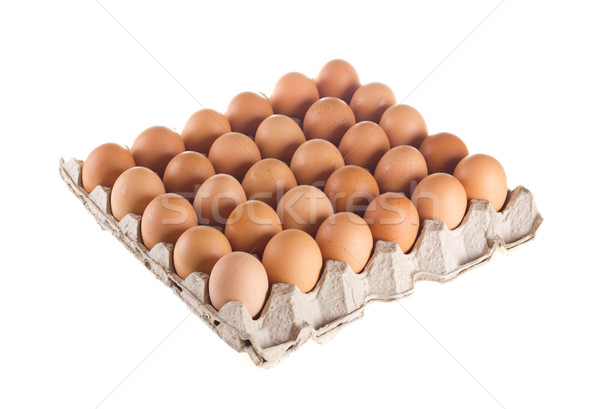 Carton of fresh brown eggs Stock photo © tehcheesiong