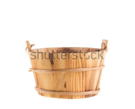 木製 バケット 孤立した 白 アンティーク ストックフォト © tehcheesiong