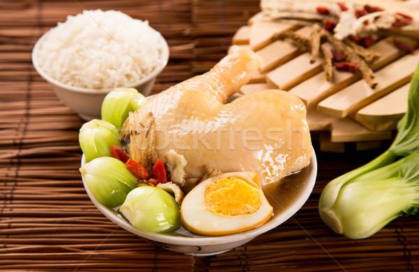 鶏 ハーブ スープ 白 コメ レストラン ストックフォト © tehcheesiong