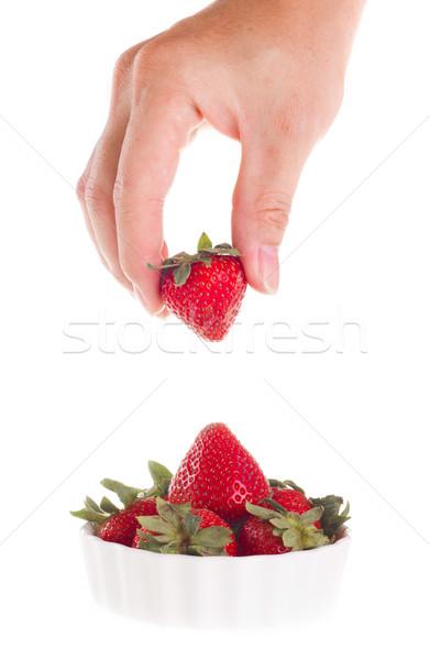 手 イチゴ 外に ボウル ストックフォト © tehcheesiong