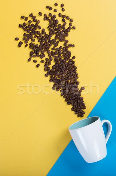 コーヒー豆 色 デザイン 芸術 青 朝食 ストックフォト © tehcheesiong