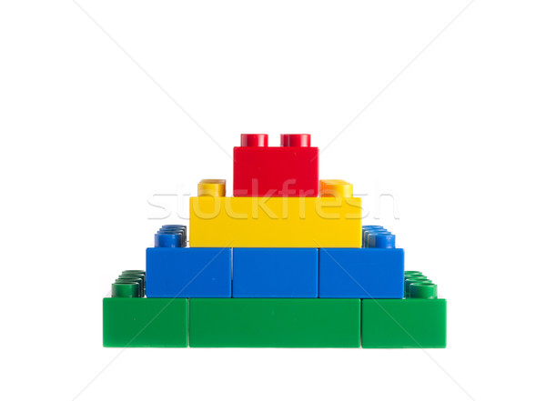 プラスチック ビルディングブロック 孤立した 白 子 青 ストックフォト © tehcheesiong