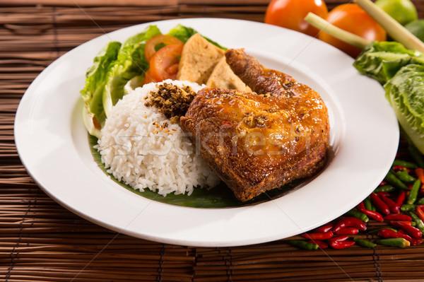 Tavuk kızartma beyaz pirinç sağlık akşam yemeği yeme Stok fotoğraf © tehcheesiong