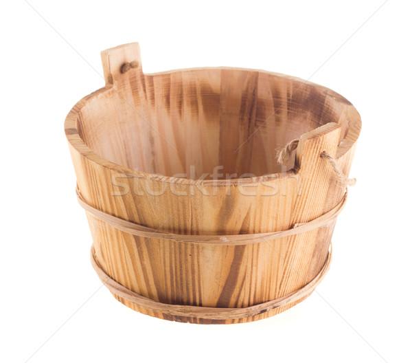木製 バケット 孤立した 白 古代 ストックフォト © tehcheesiong