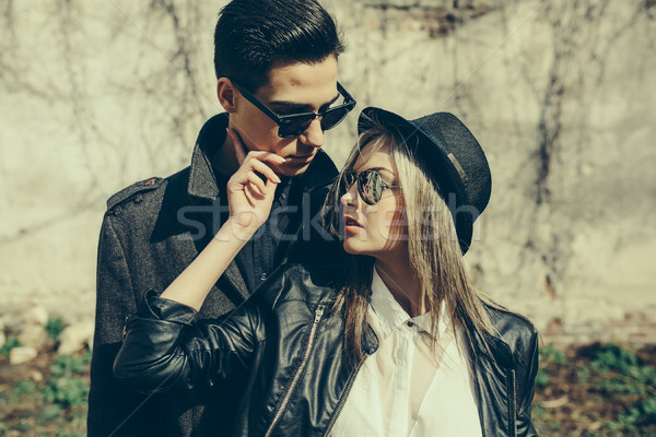 Jovem belo casal foto velho parede Foto stock © tekso