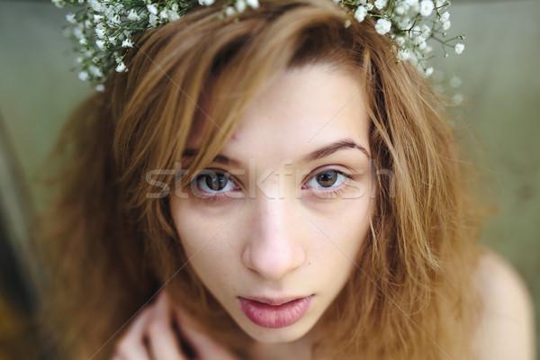 Portret mooie meisje mooi meisje weelderig tuin Stockfoto © tekso