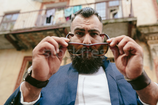 Cool бородатый человека очки Сток-фото © tekso