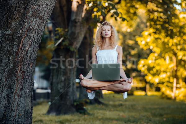 Menina laptop beautiful girl natureza grama floresta Foto stock © tekso
