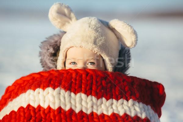 Dziewczynka dziecko posiedzenia portret cute zimą Zdjęcia stock © tekso