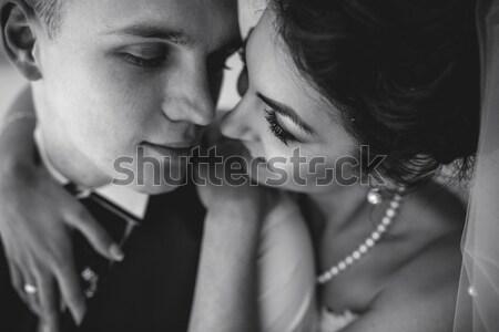 Paar sluiten ander poseren park Stockfoto © tekso