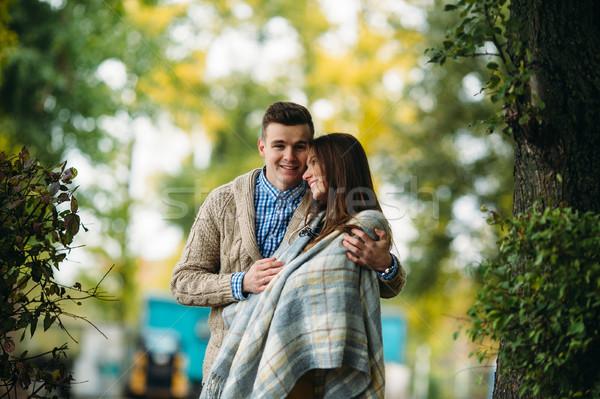 lovely couple in autumn park Stock photo © tekso