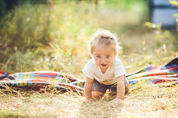 Kislány kúszás gyep farm lány mosoly Stock fotó © tekso