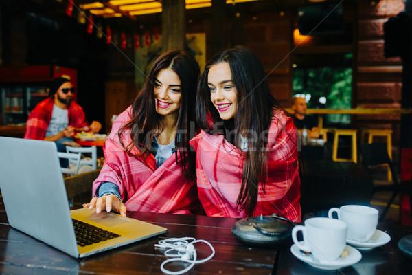Zdjęcia stock: Dwa · dziewcząt · oglądania · coś · laptop · młodych
