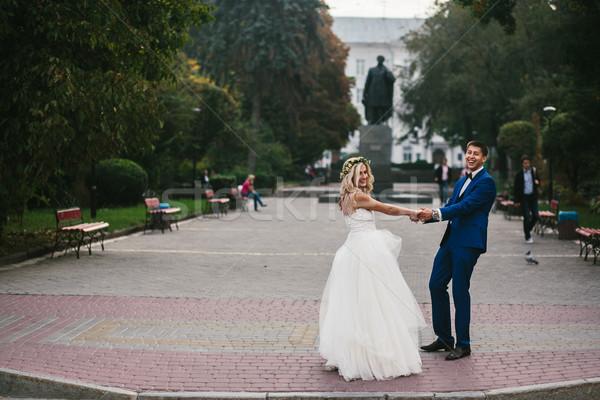 Damat gelin silah genç düğün çift Stok fotoğraf © tekso