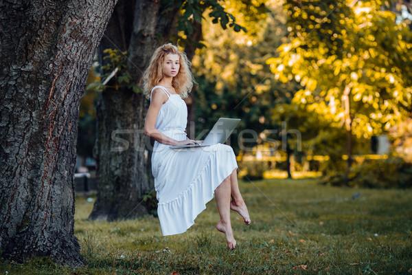 Lány laptop gyönyörű lány természet fű erdő Stock fotó © tekso