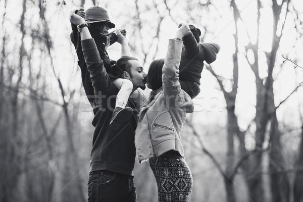 happy family in the autumn park Stock photo © tekso