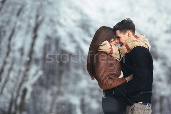 Boldog pár hó park játékos együtt Stock fotó © tekso