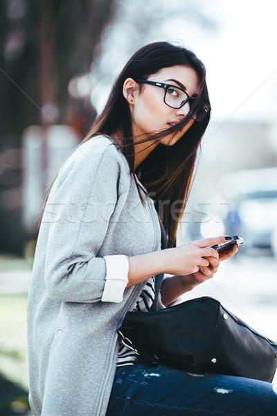 модель город телефон очаровательный красивой моде Сток-фото © tekso