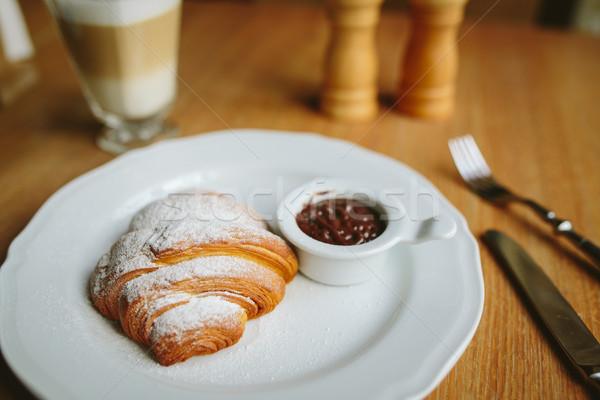 Stock fotó: Croissant · csokoládé · evőeszköz · szeretet · kés · villa