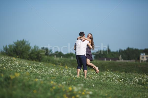 пару работает области весело красивой цветок Сток-фото © tekso