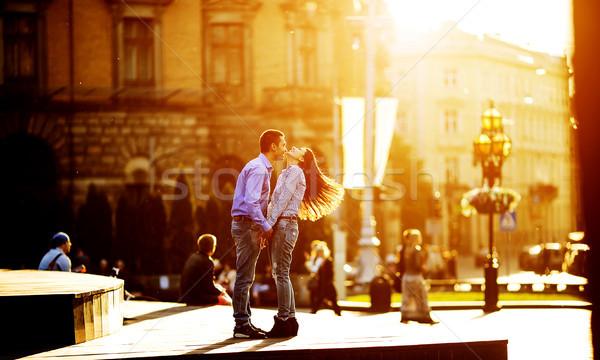 пару весело город человека женщину позируют Сток-фото © tekso