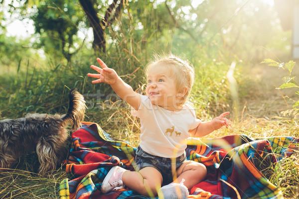 Küçük kız oturma çim tek başına gülümseme çocuklar Stok fotoğraf © tekso