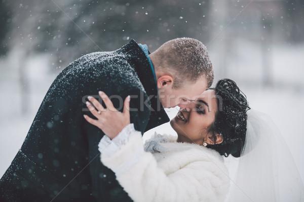 Gelin damat kış şehir don yüz Stok fotoğraf © tekso