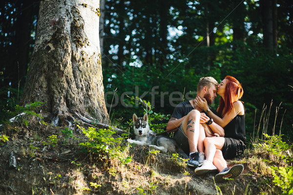 beautiful couple sitting in a forest near the tree Stock photo © tekso