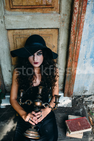 Stock photo: Vintage woman as witch