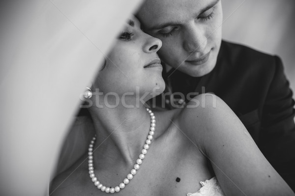 Beautiful European bridal couple in the hotel room Stock photo © tekso