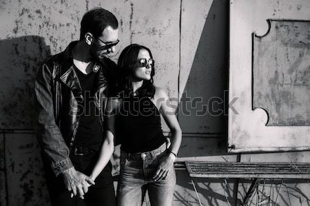 man and woman in an abandoned place Stock photo © tekso