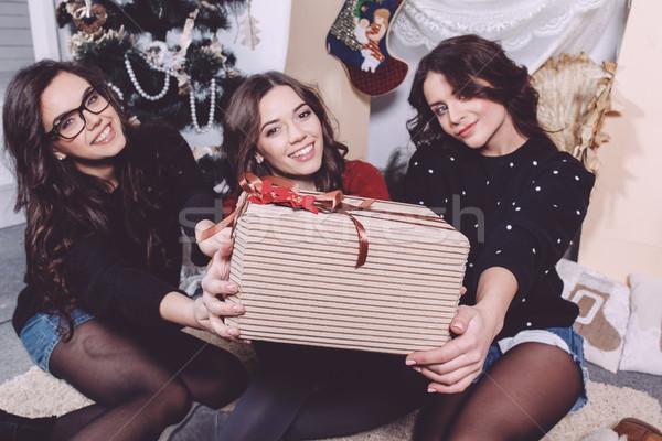 Gyönyörű lány karácsony ajándékok közvetlenül kamera dekoratív Stock fotó © tekso
